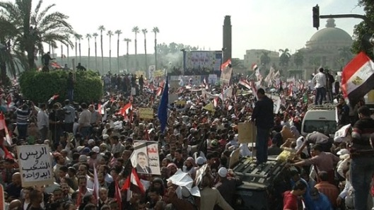 Islamists rallying to support Mohamed Morsi at Cairo University on Saturday
