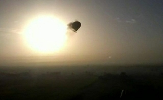 The hot air balloon moments before crashing to earth.