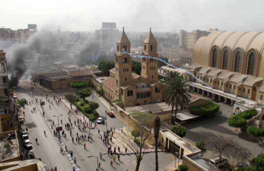 St Mark's Cathedral during the attack by police and mobs