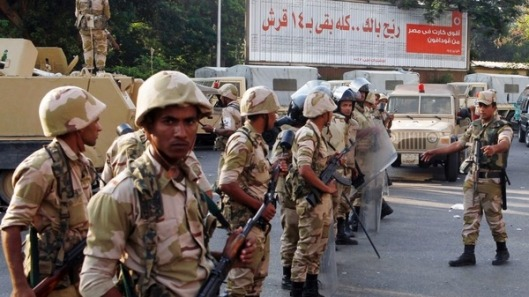 Soldiers deployed outside Cairo University following the coup d'etat