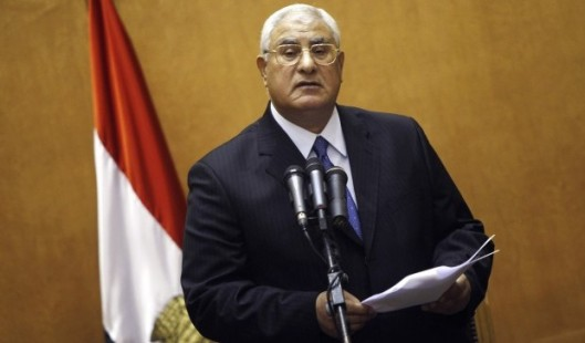 Adli Mansour is sworn in as interim President
