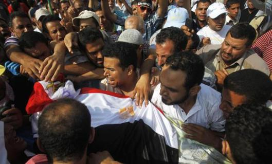 Egyptian troops opened fire on worshippers after dawn prayers