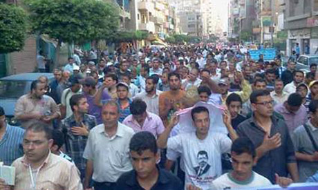Protesters in Zagazig, Morsi's hometown