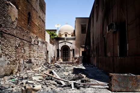 Mobs burned churches in response to yesterday's massacre
