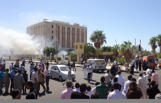 The aftermath of a bombing outside the South Sinai security HQ